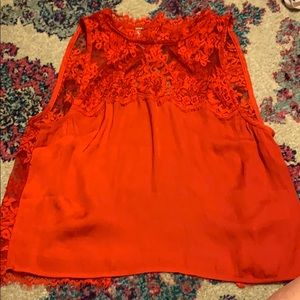 Red open back free people cropped top